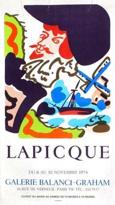 Lapicque Charles - affiche Mourlot en lithographie - exposition galerie Balanci Graham 1974