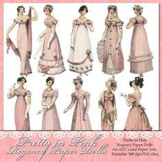 NEW - Pretty in Pink - Regency Paper Dolls PNG Files