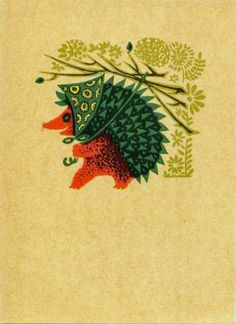 Hedgehog wearing a scarf and carrying a flower parasol. Vintage postcard.
