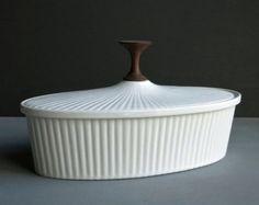 Ernest Sohn Covered Serving Dish - White Ceramic and Teak Vegetable Casserole Entertaining