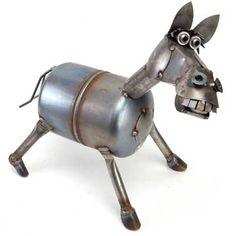 Bucky the horse sculpture from scrap metal