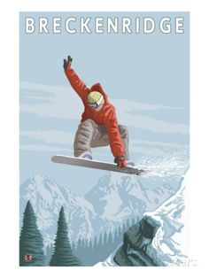 Breckenridge, Colorado, Jumping Snowboarder Poster at AllPosters.com
