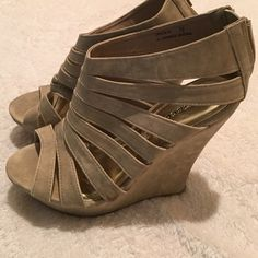 """Bamboo strappy wedge ❤️Brand new condition! 5.5"""" wedge. Tan Coconuts Shoes Wedges"""