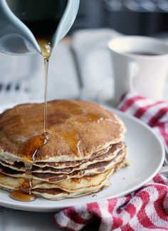 5 Ingredient Classic Pancakes.  Loved by yumyumutensils.com :)))) I added some pumpkin pie spice in lieu of sugar, and some chopped walnuts and mini dark choc chips. Perfection!