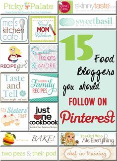 15 Recipe Bloggers to Follow.  All of these sites have amazing recipes and pictures! YUM!! #food #recipes #foodblogs