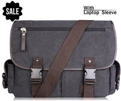 AB Earth Vintage Leather Canvas Nylon School bag Messenger Bag Briefcase, M707 -- You can get additional details at the image link. (This is an Amazon Affiliate link and I receive a commission for the sales)
