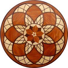 "24"" Hardwood Flooring Flower Graph Inlay 246 Piece kit DIY Floor Table Box"