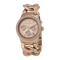 #beautiful #sweet A shiny, rose gold-tone #Michael Kors watch with a hit of glamorous shimmer. Tiny crystals frame the chronograph dial, which is set with glow-i...
