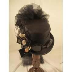14004N Black Riding Hat with Goggles & Netting