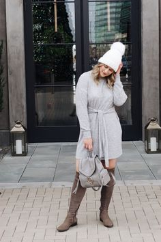Rae Everyday | Sweater Dress and Over-The-Knee Boots