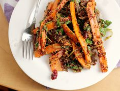 roast carrot, grain salad, food, red quinoa, eat well, carrots, quinoa salad, salads, cranberries