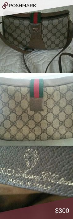 Authentic Gucci crossbody Beautiful vintage from the 1970's canvas and genuine leather. It iss clean inside and out. Tiny bit of inside lining wear under flap which you dont see when closed, and some tiny slits in the top corners of the canvas under flap. shown as additional pics in my closet. Date code 10.02.024 Gucci Bags Crossbody Bags
