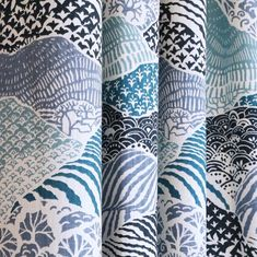 Japanese paper inspired fabric by the yard in navy, teal, periwinkle and white. www.tonicliving.com