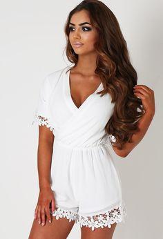 259452c67d2 Gayle White Floral Lace Trim Wrap Playsuit Wrap Playsuit