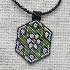 Seed bead pendant / necklace flower design green by Anabel27shop, $17.00