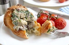 Mushroom and brie stuffed Yorkshire puddings