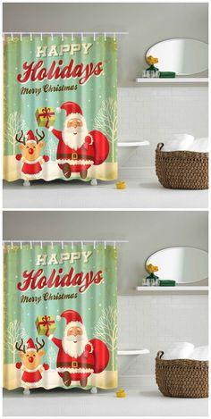 Christmas Santa Bathroom Mildewproof Waterproof Shower Curtain