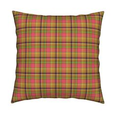 Catalan Throw Pillow featuring GOLD MANDALA PINK plaid by paysmage   Roostery Home Decor
