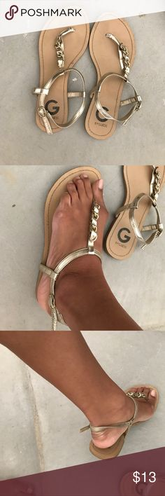 G by Guess Metallic Chain Gold Open Sandals 7.5 G by Guess Metallic Chain Gold Open Sandals 7.5 G by Guess Shoes Sandals