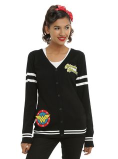 <p>Show some love for your favorite Amazonian Princess with this black cardigan from DC Comics. Design has an embroidered Wonder Woman patch on the front, white striped sleeves and an embroidered Wonder Woman patch on the right hip. Perfect for keeping warm when you get chilly in yourleotard.</p>  <ul> <li>71% rayon; 29% polyester</li> <li>Wash cold; dry low</li> <li>Imported</li> <li>Listed in junior sizes</li> </ul>