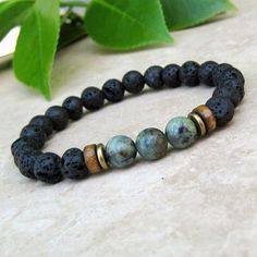 African Turquoise & Black Lava Bracelet, Gemstone Bracelet, Stretch Yoga Bracelet, Mala Jewelry, Tib by Read Bracelets Diy, Braided Bracelets, Gemstone Bracelets, Fashion Bracelets, Gemstone Jewelry, Beaded Jewelry, Fashion Jewelry, Men's Jewelry, Stretch Bracelets