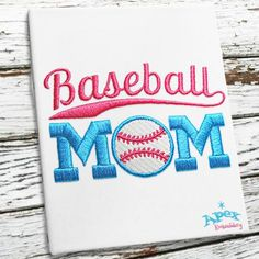 """Baseball Mom Embroidery Designs. You get three Sizes: 2"""", 3"""" and 4"""""""