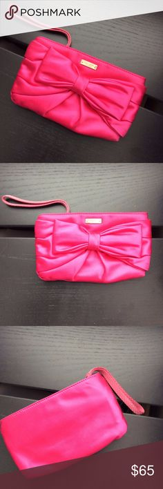 KATE SPADE Hot Pink Magenta Small Bow Satin Clutch KATE SPADE $175 Hot Pink Magenta Small Bow Satin Evening Wedding Mini Clutch   Satin has no pilling or snagging upon inspection. Very small and very cute! kate spade Bags Clutches & Wristlets