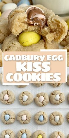 Mini Cadbury Egg Recipes   Cadbury Egg Kiss Cookies are the best way to use those delicious mini cadbury egg Easter candies. The perfect Easter cookie recipe with a peanut butter cookie and topped with a cadbury egg. Mini Egg Recipes, Easter Cookie Recipes, Easter Snacks, Fun Baking Recipes, Cadbury Recipes, Cadbury Cookies, Mini Eggs Cookies, Easter Cookies, Kiss Cookies