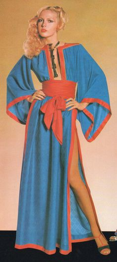 Emanuel Ungaro Haute Couture- 1977 Blue silk kimono dress with red satin trim and belt. L'officiel USA Spring 1977