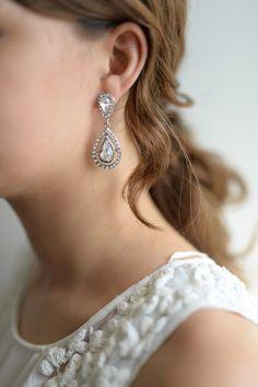 Ohrringe - Braut Ohrringe tropfenförmig - Kristall Tropfen - ein Designerstück von Stella-Kobenhavn bei DaWanda