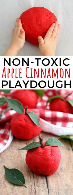 A non-toxic, taste-safe, apple cinnamon playdough recipe perfect for senso. - A non-toxic, taste-safe, apple cinnamon playdough recipe perfect for sensory play at home or - Apple Activities, Autumn Activities For Kids, Fall Preschool, Toddler Activities, Preschool Activities, Kid Activites, Montessori Baby, Toddler Crafts, Kids Crafts