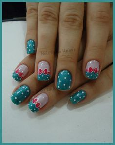 Cute nails with pink bow