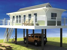 Beachfront Tiny Houses on Stilts | Tiny House Pins  OMG, this is sooo me, it even has my Hummer already parked underneath!