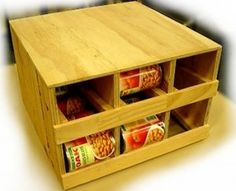 This would be a great way to store #10 cans underneath a bed, stacked in a closet, or even as a coffee table (with a cover on the end).