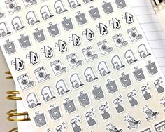 Laundry Stickers, Bin Day Reminders, Planner Stickers, Bullet Journal Stickers, Black and White, Icon Size, 85 Stickers by notesandclips on Etsy https://www.etsy.com/listing/489025740/laundry-stickers-bin-day-reminders