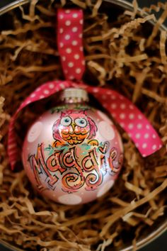OWL ORNAMENT personalized handpainted ornament by DAKRIsinclair, $20.00