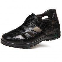 Elevator Fisherman Sandals 8cm / 3.2inch Black Height Increasing Beach Shoes