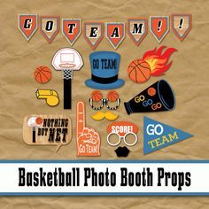 Basketball Photo Booth Props and Party Decorations - Printable Photobooth Props - NBA Basketball - NCAA Basketball - College Basketball - Final Four - Birthday Party Decorations