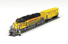Welcome to this new model of the EMD for Union Pacific. A great machine powered by two motors per axle, a removable diesel engine and a refrigerated wagon from the Union Pacific Fruit Company. Fruit Company, Lego Trains, Lego Modular, Train Set, Cool Lego, General Motors, Diesel Engine, Model Trains, Locomotive