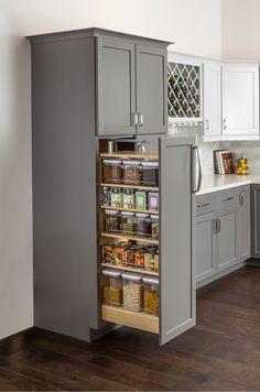 Kitchen Pantry Design, Diy Kitchen Storage, New Kitchen Cabinets, Modern Kitchen Design, Home Decor Kitchen, Interior Design Kitchen, Home Kitchens, Kitchen Appliances, Small Pantry Cabinet