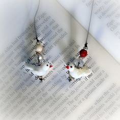 Dove Lampwork Glass Bookmarks by blingbychristine on Etsy, $4.00