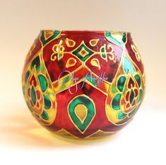 Vase candle holder Oriental tales. Stained glass