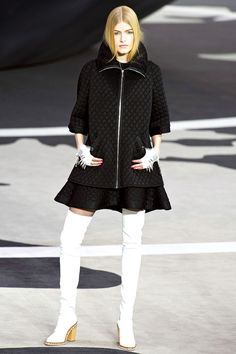 Flared A-Line Black Skirt-Suit withThigh-Hight Boots I Chanel #fall2013 #trends