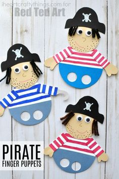 Super fun pirate finger puppets for pretend play. Cute pirate crafts for kids, summer crafts for kids and diy puppets for kids.