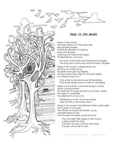 Printable 'Deep in the Woods' Poem and Coloring Page Print