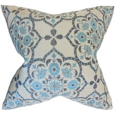 Add a classic touch to your decor with this Nyasia 18-inch, feather-filled throw pillow with a geometric design. This polyester pillow features classic blue, black and beige tones that create a relaxed, stress-free feel.