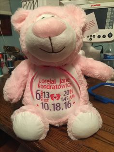 CUBBIES™ PINK BEAR STUFFIE WITH PERSONALIZED EMBROIDERY