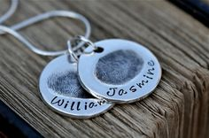 Fingerprint Necklace  Two Coin Charms  features by Joulberry, £210.00