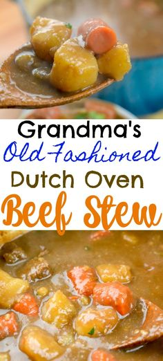 Grandma's Old Fashioned Dutch Oven Beef Stew Source by adventuresnurse Related posts: Dutch Oven Beef Stew Slow Cooker: Birria de Res, or Mexican Beef Stew + VIDEO Curry Beef Stew (Paleo + Irish Beef Stew Dutch Oven Beef Stew, Dutch Oven Cooking, Dutch Oven Recipes, Stew Recipe Dutch Oven, Dutch Oven Meals, Cooker Recipes, Crockpot Recipes, Soup Recipes, Beef Stew Recipes