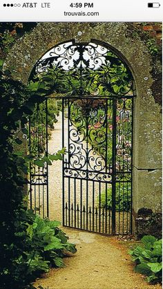 French Gate into my garden. This is so beautiful it reminds me of the Secret Gar… French Gate into my garden. This is so beautiful it reminds me of the Secret Garden. The Secret Garden, Secret Gardens, Hidden Garden, Grades, Garden Doors, Garden Entrance, House Entrance, Wrought Iron Gates, Metal Gates
